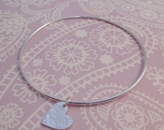 Hammered Silver Heart Bangle