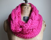 Oversized Cable knit cowl Magenta. Infinity scarf. Pink circle scarf.
