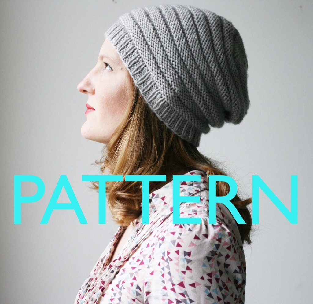 Knitting Pattern For Loose Beanie : Slouchy beanie hat knitting PATTERN Miniques slouch