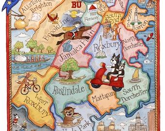 Jamaica plain map  Etsy