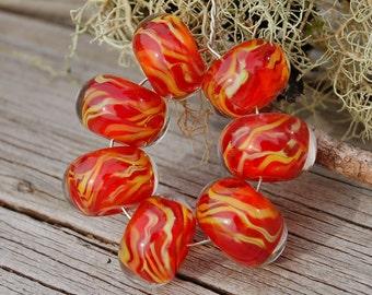 Warming Trend - Set of 7 Encased Lampwork Beads - Dan O Beads