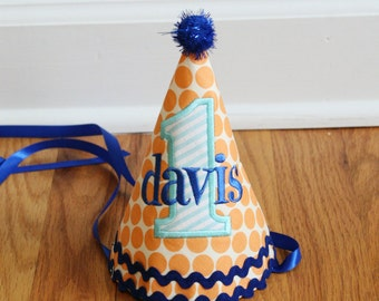 Boy 1st Birthday Hat - Orange, aqua, and royal blue - Free personalization