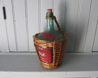1964 Rioja Green Bottle in Basket with Handle & Cork