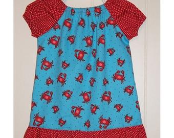 Toddler Peasant Dress - Handmade Girls Crab Dress - Baby Girl Dresses - Little girls dresses - Ruffled baby girl dress - Kids dresses
