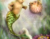 Puffer...Child Mermaid Picture Art... Print... Fantasy Art... Little Mermaid Boy... Pufferfish