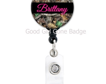 Retractabe Badge Reel - Camo with Choice of Font and Color - Badge Holder