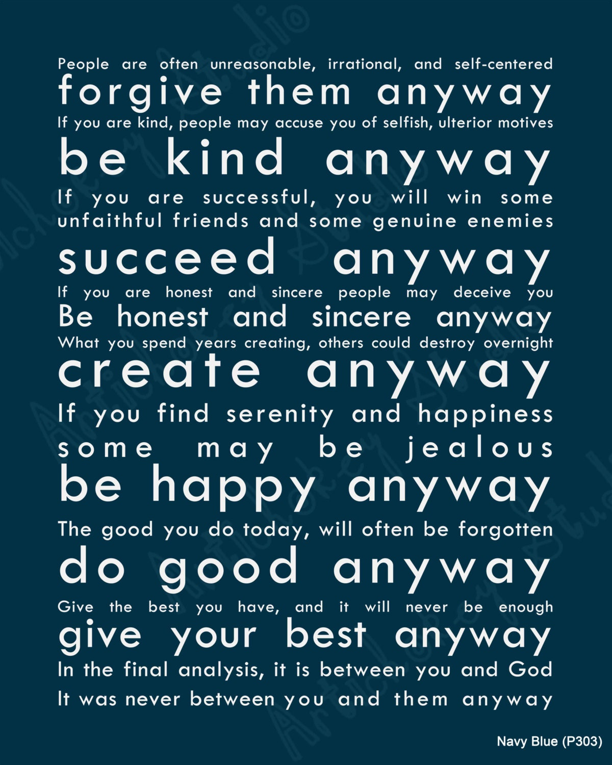 Do It Anyway Quote in Navy Blue Instant Download Print Pack