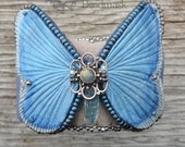 Ethereal Leather Butterfly Cuff Bracelet - Silvery Blue With Kyanite, Labradorite And Sterling Filigree