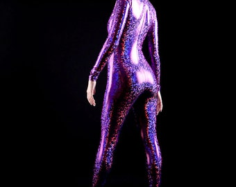 Holographic Purple on Black Voodoo Queen Bodysuit to Take you to The Other Side