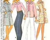 70s retro dress pattern shirt and pants vintage sewing pattern McCalls 3642 retro Bust 36 Uncut