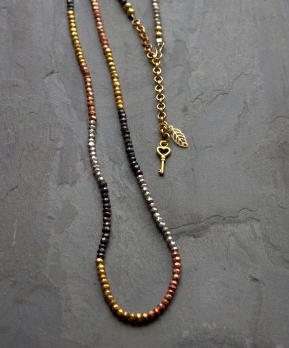 """Boho Long Pyrite Necklace Beaded Mixed Metal Tribal Earthy Y Necklace Gold Black Copper Silver Convertible Necklace Bracelet Rosary 30"""""""