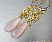Glowing Pink Chalcedony-Gold Plated Charm Dangle Earrings