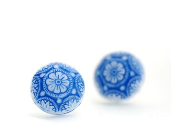 Flower Studs, Blue and White Earrings, Etched Glass Earrings, Handpainted Earrings, Glass Earrings, Post Earrings, Steel Posts