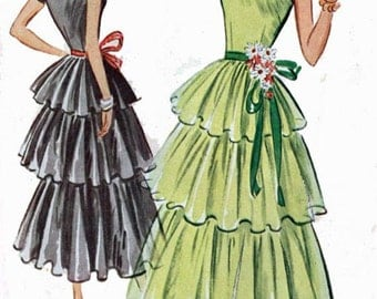 1950s Three Tiered PARTY Dress with Underskirt McCalls 8284 Vintage 50s Womens ROCKABILLY Sewing Pattern Size 15 Bust 33 UNCUT