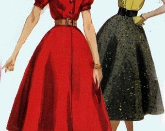 Vintage 1950s Shirtwaist Dress Sewing Pattern Simplicity 2241 Womens ROCKABILLY Vintage 50s Clothing Pattern Size 14 UNCUT