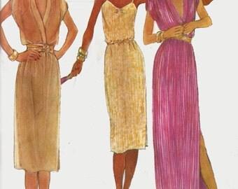 1970s Slip Dress McCalls 6905 Low Cut Dress in Regulaor or Evening Lengths Vintage 70s American Hustle Sewing Pattern Size 20 Bust 42 UNCUT