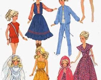 Vintage 80s Barbie Wardrobe Sewing Pattern Simplicity 5356 OOP Sewing Pattern Wedding Gown Romper Sundress +
