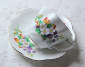 blackberry flowers bone china cup & saucer set Royal Imperial collectible