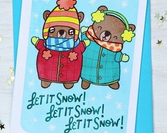 Let It Snow Bears - Holiday Card - Christmas Notecard