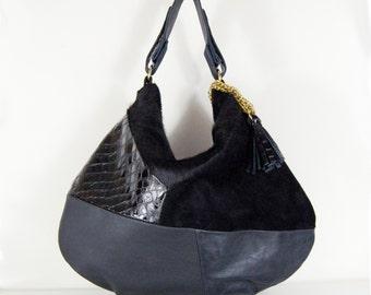 Roselle - Handmade Black Leather Hobo Shoulder Bag.