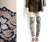 Psych Out Faux Thigh High Leggings - Black & Silver Lace - XS or S
