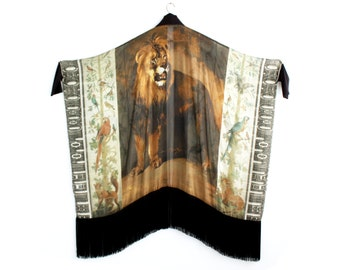 Silk Kimono, Fringe Kimono, Kimono Robe, Boho Kimono, Silk Robe, Wedding Kimono, Wedding Robe, Boho Silk Robe, Norwegian Wood