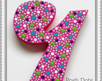 Polka Dot Wooden Numbers, Hand Painted