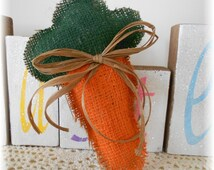 Burlap Easter / Spring Carrot Stuffed Shabby Chic Natural Eco Friendly Spring Burlap Carrot