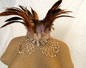 Maleficent feather collar - Victorian feather ruff necklace - russet and ecru feather choker - ready to ship cosplay choker necklace