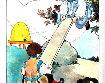 See Saw - Mother Goose Print - 1989 Vintage Book Page - 9 x 11