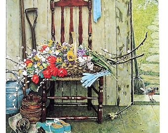 Spring Flowers - Large Norman Rockwell Poster Sized Print - 1977 Vintage Book Page - 15 x 12