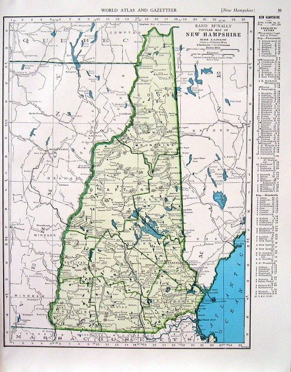 New Hampshire Map New Jersey Map US State By Mysunshinevintage
