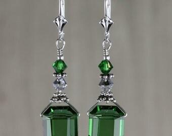 Vintage Swarovski Crystal Emerald Cut Earrings