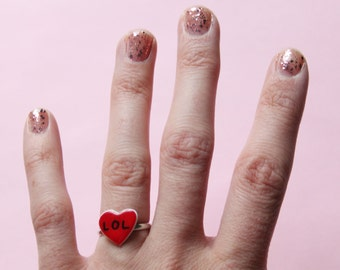 LOL Red Heart Adjustable Ring