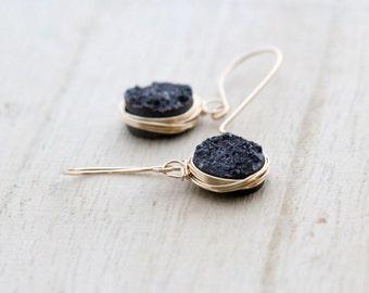 Druzy Gold Earrings, Black Oval Dangle Bezel Wrapped Drops In 14k Gold Filled, Gifts For Her