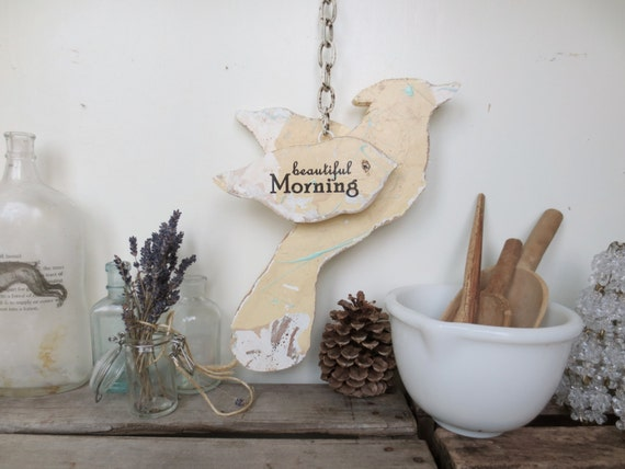 Woodland Bird // Wooden Bird Decor // Cottage // Farmhouse // Hanging Vintage Sign // Yellow Bird // Nursery Decor // Sparrow