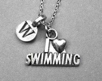 I love swimming Necklace, swimming charm, I love to swim, swimmers gift, personalized jewelry, initial necklace, monogrammed letter