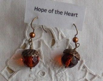 Acorn Earthy Oak Dangle Earrings