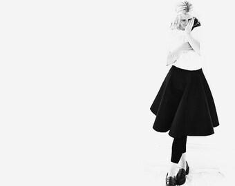 Navy Silk Satin Skirt with an Asymmetrical Hemline