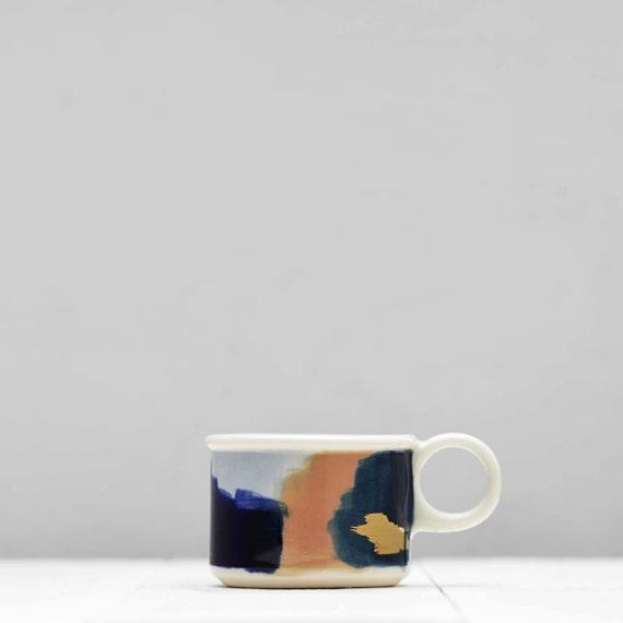 Glacier Hand Painted Navy Blue, Peach, 14k Gold, Porcelain Tea/Cortado Mug // Gorgeous Wedding Gift for an Organic, Modern Home
