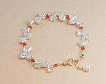 Keshi Pearl Bracelet, Beach Wedding Jewelry, Orange Bridesmaid Jewelry, Bridesmaid Gift, Beach Wedding Bracelet, Tangerine Jewelry