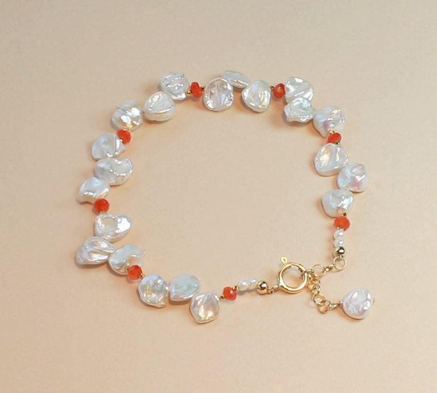 Keshi Pearl Necklace: Keshi Pearl Bracelet Beach Wedding Jewelry Orange Bridesmaid