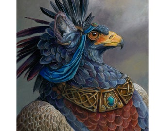 Elblich - Second General - Fantasy Gryphon Print - Blue Griffin