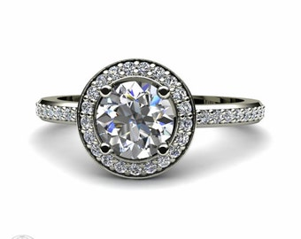 White Sapphire Engagement Ring Round Sapphire Ring Conflict Free Diamond Halo 14K or 18K Gold
