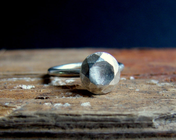 Faceted silver diamond - eco friendly engagement ring- alternative engagement ring -Original Modern Rock Ring Under 50