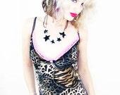 70% OFF SALE Agoraphobix Leo Tart leopard  print & pink lace top    tank top   90s top   camisole top