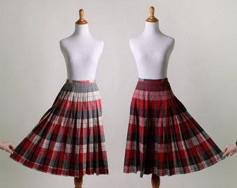 Vintage Plaid Skirt - Reversible Cherry Red Plaid Pleated Skirt - Small 24 Inch Waist