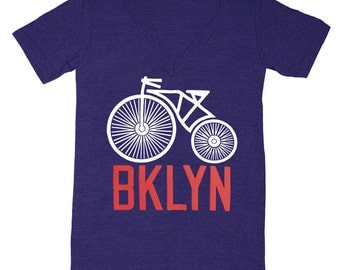 Brooklyn Bike - V-Neck T-shirt Indie Hipster Cycle Bicycle Wheel Biking Retro NY NYC Bklyn Tee New York Shirt TriBlend Indigo T-shirt