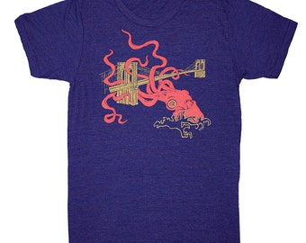 Squid Attack - Mens Nautical T-Shirt Awesome Funny Cool Monster Kraken Tee Shirt Giant Octopus Brooklyn Bridge Tshirt Tri Indigo Blue Tshirt