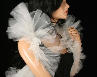 Tulle tie on shoulder shrug shoulder wrap Ivory victorian formal dance bridal stole bolero -- Sisters of the Moon